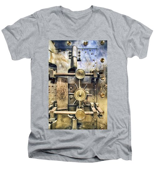 Old Bank Vault In Historic Building Men's V-Neck T-Shirt
