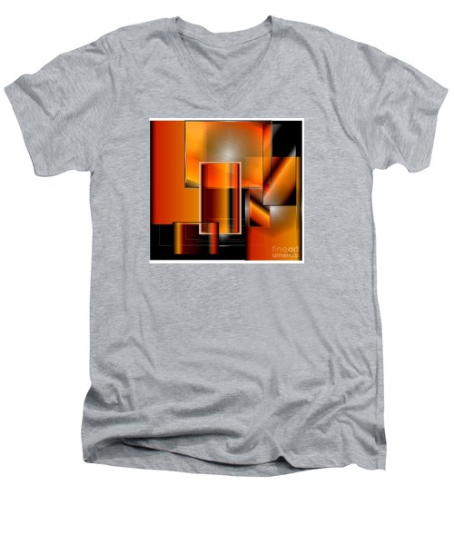 Orange Men's V-Neck T-Shirt by Iris Gelbart