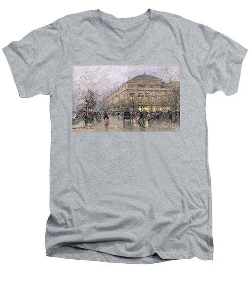 Parisian Street Scene Men's V-Neck T-Shirt by Eugene Galien-Laloue