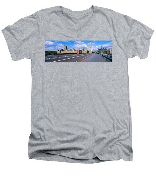 Parliament Big Ben London England Men's V-Neck T-Shirt by Panoramic Images