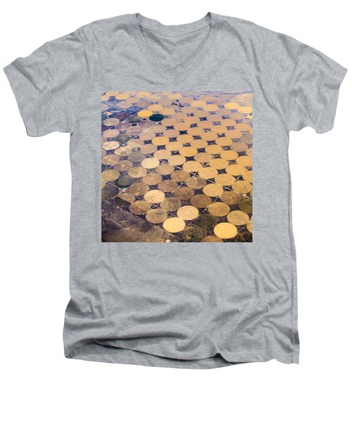 Patchworks. Aerial View To Texas's Fields Men's V-Neck T-Shirt