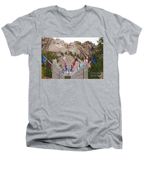 Men's V-Neck T-Shirt featuring the photograph Patriotic Faces by Mary Carol Story