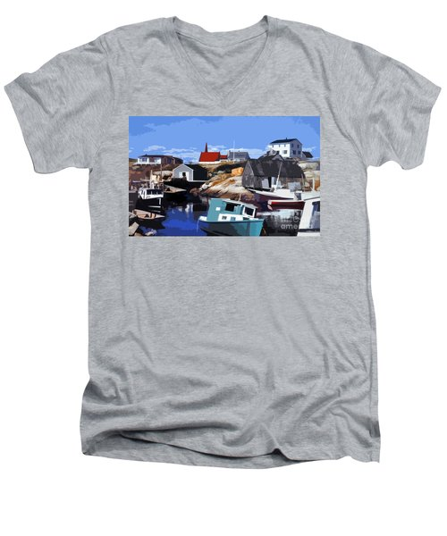 Peggy's Cove Men's V-Neck T-Shirt by Lydia Holly