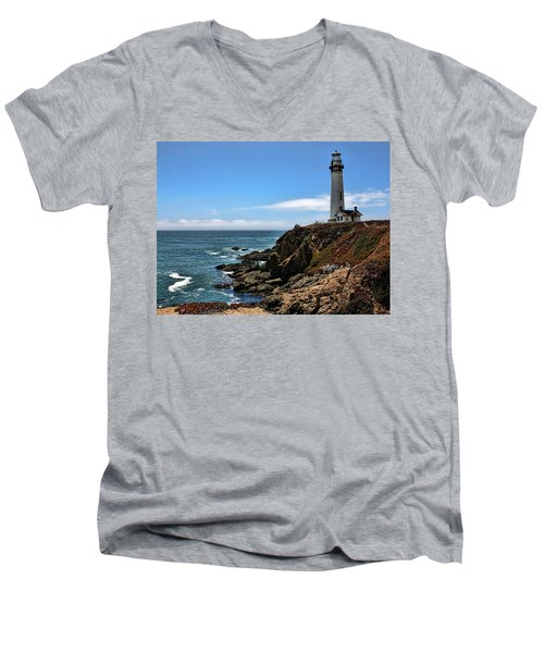 Pigeon Point Lighthouse Men's V-Neck T-Shirt by Judy Vincent