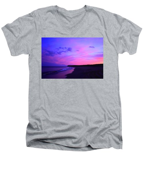 Pink Sky And Beach Men's V-Neck T-Shirt by Jason Lees