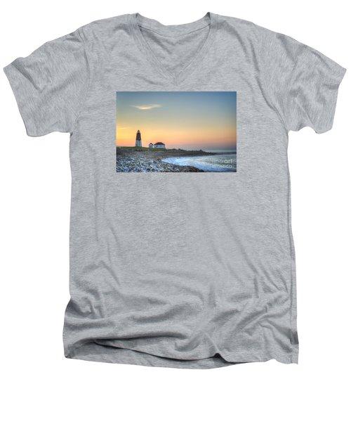 Point Judith Lighthouse Men's V-Neck T-Shirt by Juli Scalzi