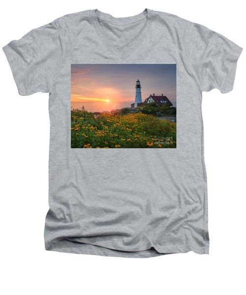Portland Head Light Sunrise  Men's V-Neck T-Shirt