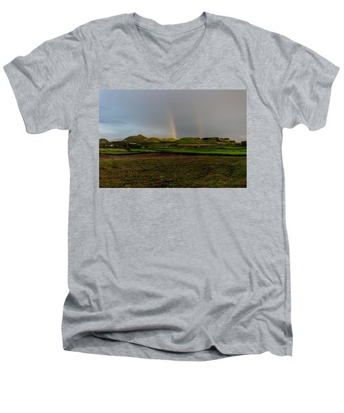 Rainbows Over The Mountain Men's V-Neck T-Shirt