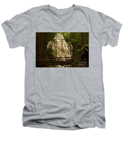 Ramona Falls Men's V-Neck T-Shirt by Nick  Boren