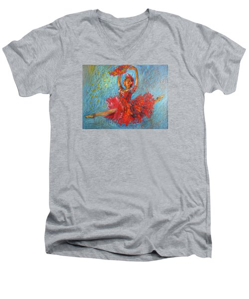 Men's V-Neck T-Shirt featuring the painting Red Fan by Jieming Wang