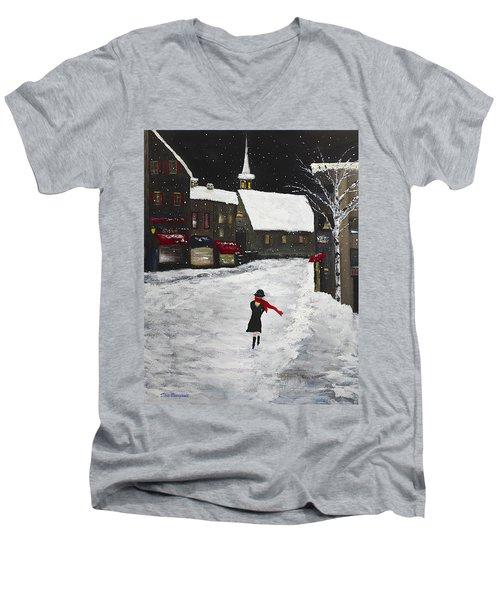 Red Scarf Winter Scene Men's V-Neck T-Shirt