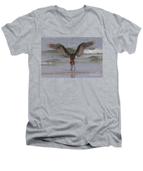 Reddish Egret Fishing Men's V-Neck T-Shirt
