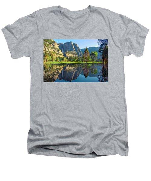Reflections Of Yosemite Falls Men's V-Neck T-Shirt by Lynn Bauer