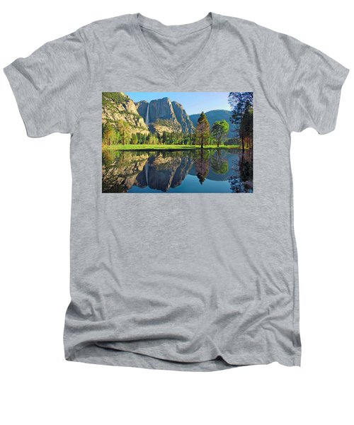 Reflections Of Yosemite Falls Men's V-Neck T-Shirt