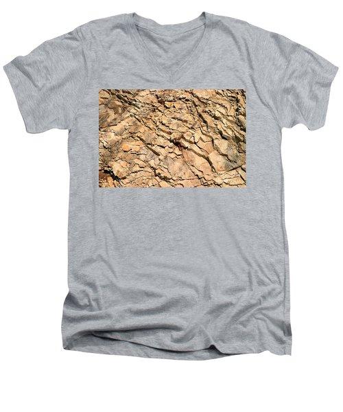 Men's V-Neck T-Shirt featuring the photograph Rock Wall by Henrik Lehnerer
