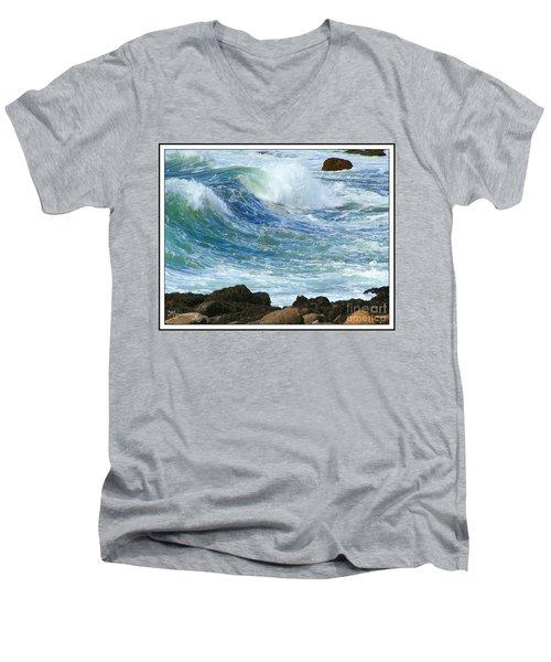 Men's V-Neck T-Shirt featuring the photograph Rough Seas by Mariarosa Rockefeller