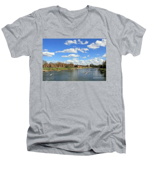 Rowing On The Thames At Hampton Court Men's V-Neck T-Shirt
