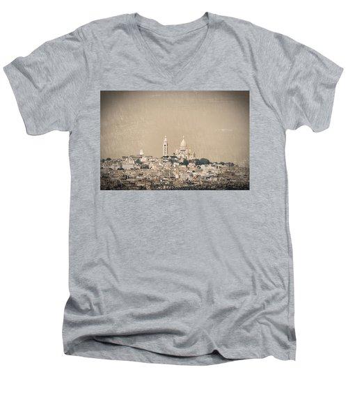 Sacre Coeur Basilica Of Montmartre In Paris Men's V-Neck T-Shirt