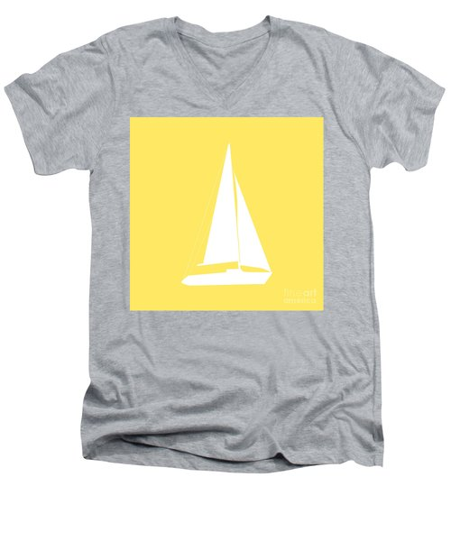 Sailboat In Yellow And White Men's V-Neck T-Shirt