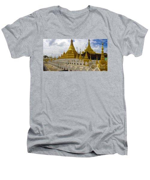 Men's V-Neck T-Shirt featuring the photograph Sandamuni Pagoda Mandalay Burma by Ralph A  Ledergerber-Photography