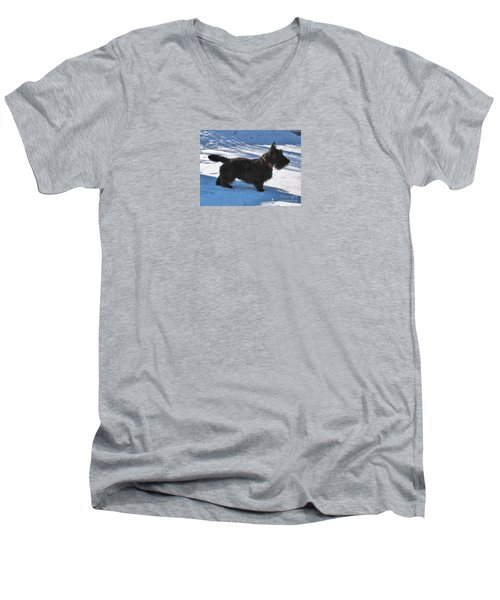 Men's V-Neck T-Shirt featuring the photograph Scottie Silhouette by Michele Penner