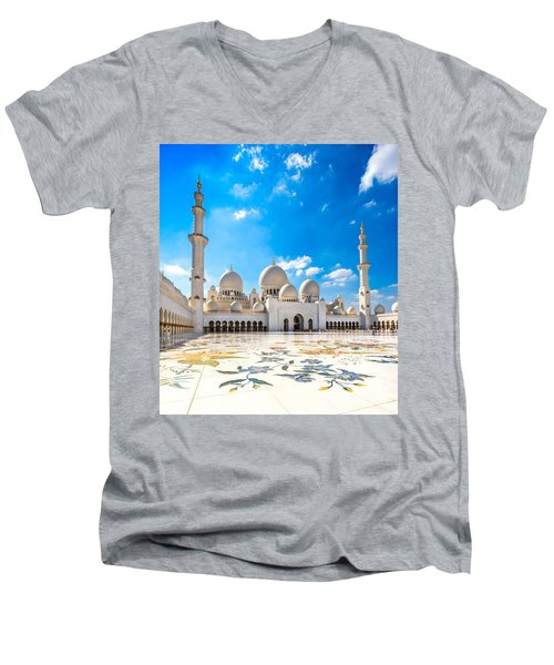 Sheikh Zayed Mosque - Abu Dhabi - Uae Men's V-Neck T-Shirt by Luciano Mortula