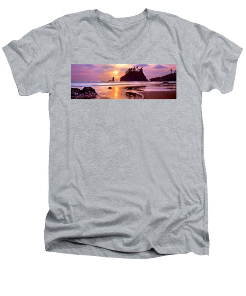Silhouette Of Sea Stacks At Sunset Men's V-Neck T-Shirt by Panoramic Images