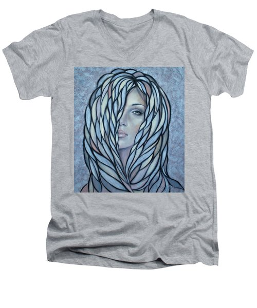 Men's V-Neck T-Shirt featuring the painting Silver Nymph 021109 by Selena Boron