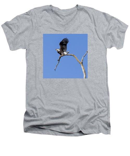 Smooth Landing 4 Men's V-Neck T-Shirt by David Lester