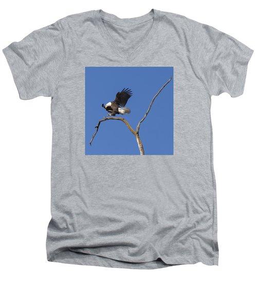 Smooth Landing 5 Men's V-Neck T-Shirt by David Lester