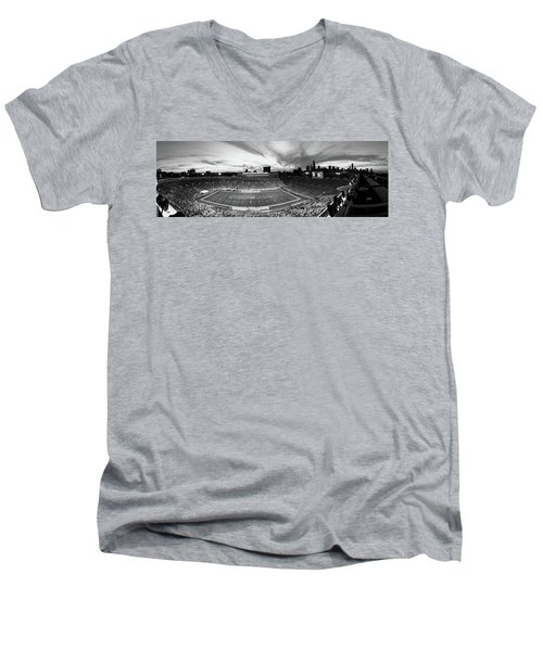 Soldier Field Football, Chicago Men's V-Neck T-Shirt by Panoramic Images