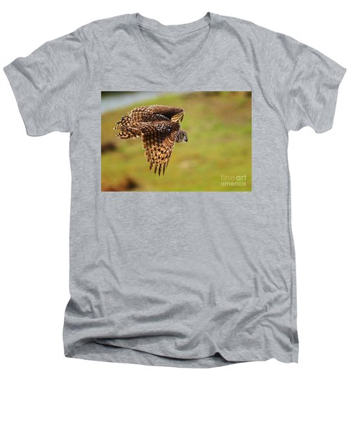 Spotted Eagle Owl In Flight Men's V-Neck T-Shirt