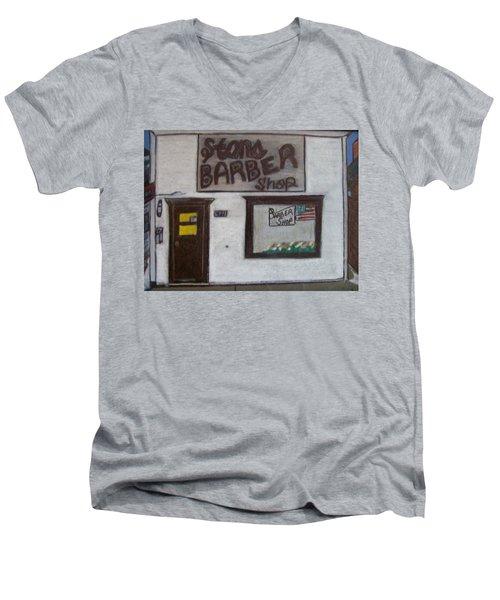 Stans Barber Shop Menominee Men's V-Neck T-Shirt by Jonathon Hansen