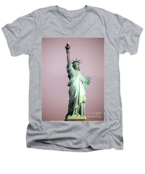Statue Of Liberty Men's V-Neck T-Shirt by Ed Weidman