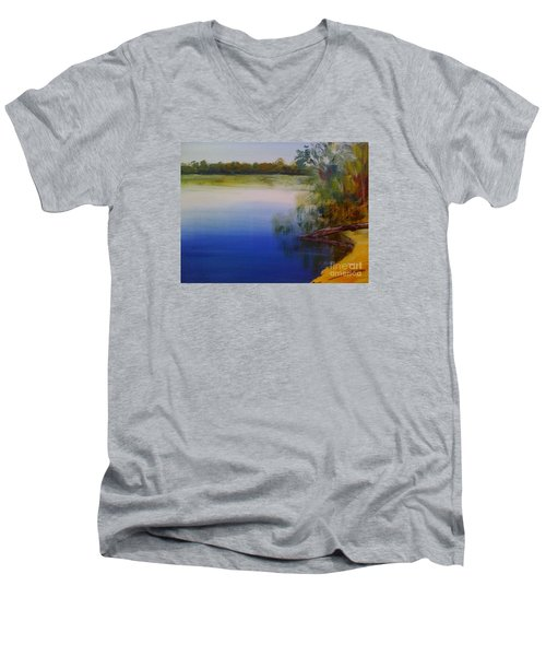 Men's V-Neck T-Shirt featuring the painting Still Waters - Original Sold by Therese Alcorn