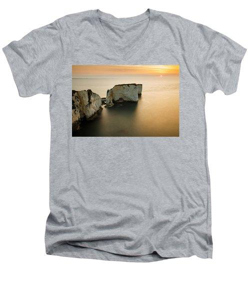 Sunrise Old Harry Rocks Men's V-Neck T-Shirt