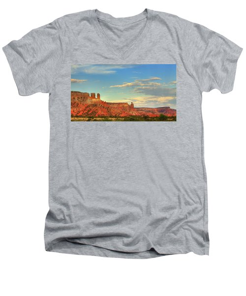 Men's V-Neck T-Shirt featuring the photograph Sunset At Ghost Ranch by Alan Vance Ley