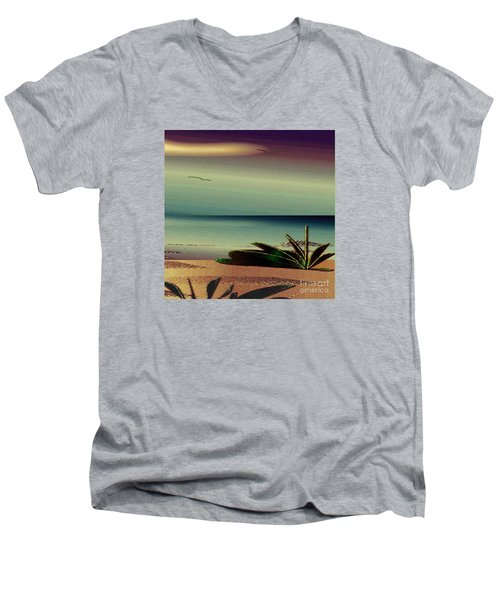Sunset On The Beach Men's V-Neck T-Shirt by Iris Gelbart