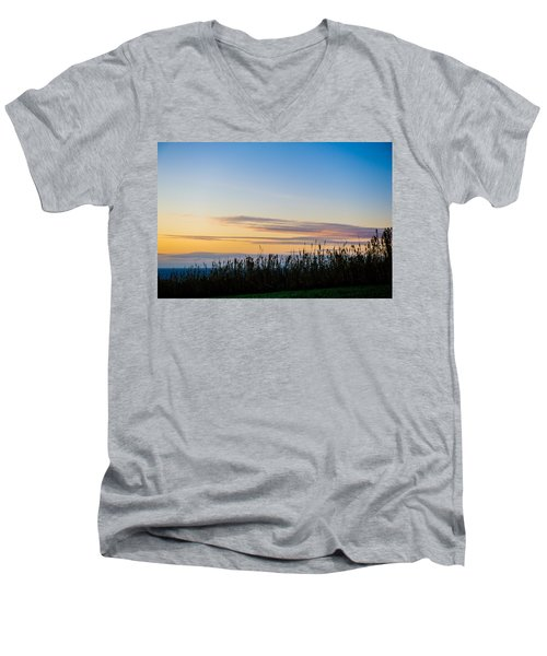 Sunset Over The Field Men's V-Neck T-Shirt
