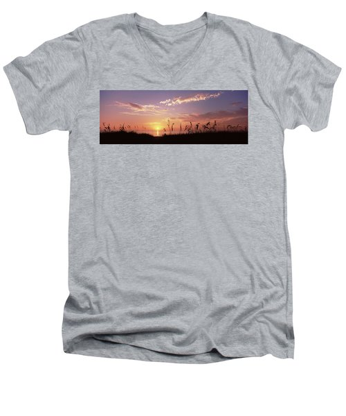 Sunset Over The Sea, Venice Beach Men's V-Neck T-Shirt by Panoramic Images