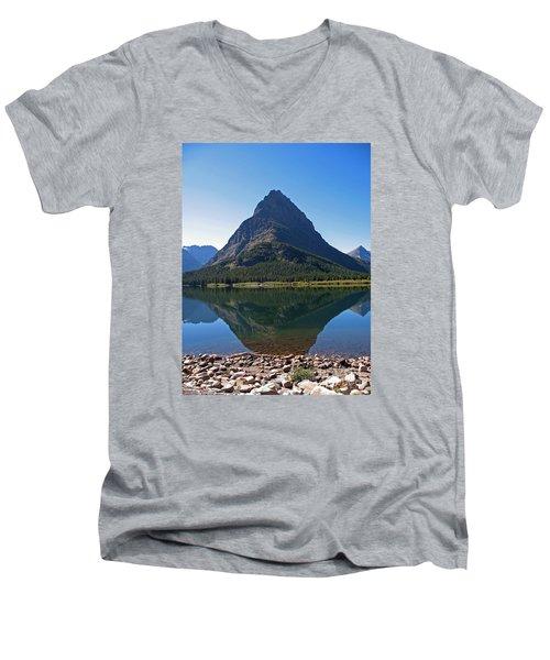 Men's V-Neck T-Shirt featuring the photograph Swiftcurrent  Lake Many Glacier by Joseph J Stevens