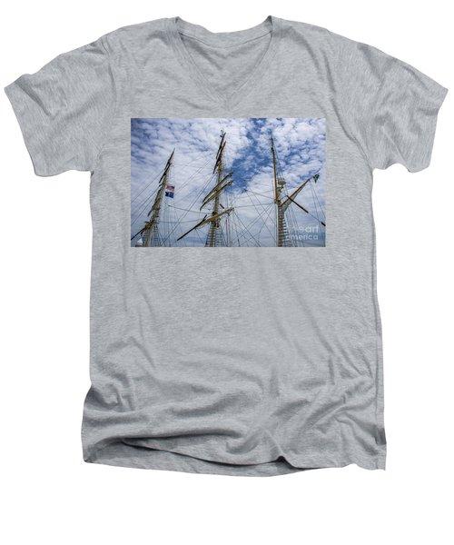 Tall Ship Three Mast  Men's V-Neck T-Shirt by Dale Powell