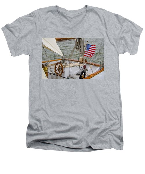 Tall Ship Wheel Men's V-Neck T-Shirt by Dale Powell