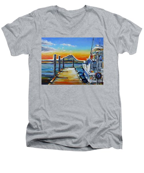 Men's V-Neck T-Shirt featuring the painting Tauranga Marina 180412 by Selena Boron