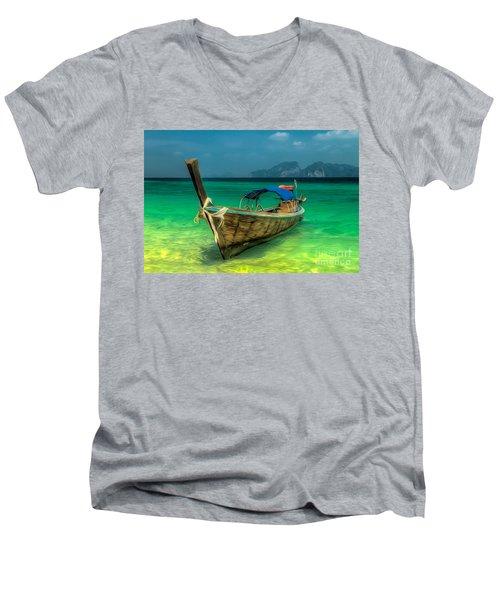 Thai Longboat Men's V-Neck T-Shirt by Adrian Evans