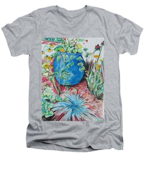 Men's V-Neck T-Shirt featuring the painting The Blue Flower Pot by Esther Newman-Cohen
