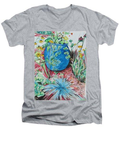 The Blue Flower Pot Men's V-Neck T-Shirt by Esther Newman-Cohen
