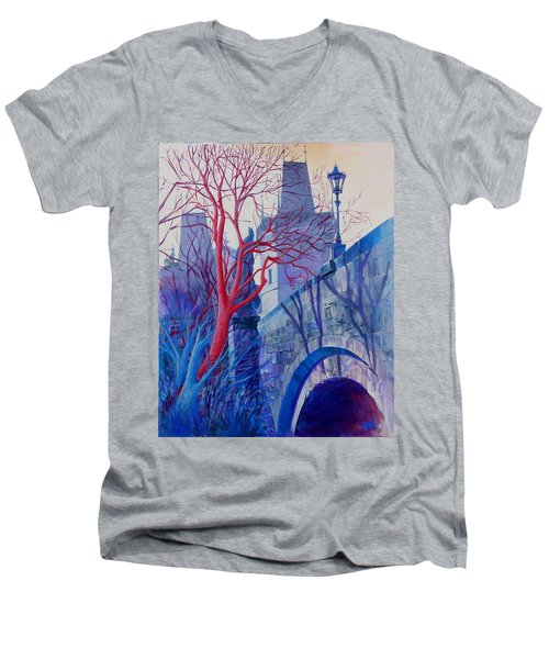 The Charles Bridge Blues Men's V-Neck T-Shirt