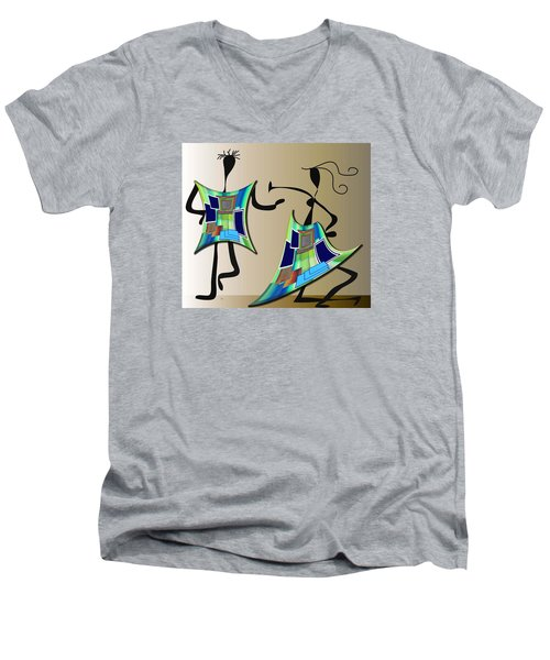 Men's V-Neck T-Shirt featuring the digital art The Dancers by Iris Gelbart