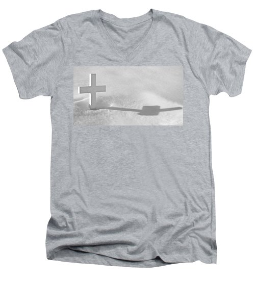 Men's V-Neck T-Shirt featuring the photograph The Grave Of Bobby Kennedy by Cora Wandel
